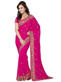 Miraculous #Chiffon #Saree in rani pink color with zari, kundan work. Item Code: SWG561 http://www.bharatplaza.com/new-arrivals/sarees.html
