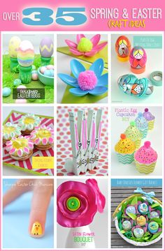 Over 35 Spring and Easter Craft Ideas by Club Chica Circle Easter Arts And Crafts, Egg Crafts, Crafts For Kids, Flower Bouquet Diy, Flower Cookies, Welcome To The Party, Flower Crafts, Homemade Gifts, Craft Ideas