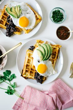 Kale & Caramel Jalapeno Cheddar Waffles Ranchero
