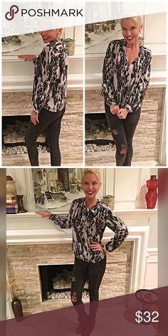 Stunning Halogen abstract tie front blouse 💋 From work to play this beauty is right on trend with a fun tie top and a cool abstract pattern in fall's hottest colors 💕 Halogen Tops