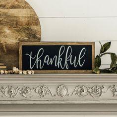 Thankful sign for fall. Farmhouse style wall decor. Horizontal sign.