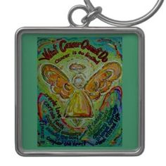 Rainbow Cancer Angel Painting Keychain Pendant Square