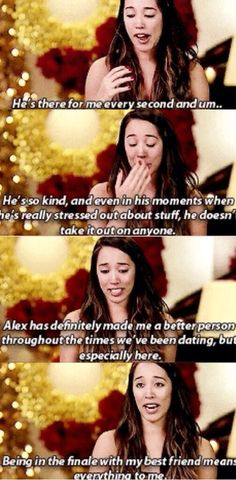 Sierra talking about Alex. From The beginning of the X factor they were the 2 people I wanted to win no one else. Them. Just Them! U could feel their love connection! When I grow up I want someone like Alex and Sierra to be by my side. I can't! I knew they were going to win no lie! Great Job Simon! These are people I look up to!