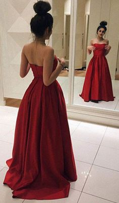 Red Sweetheart Sweep Train A-line Chiffon Prom Dresses 2017