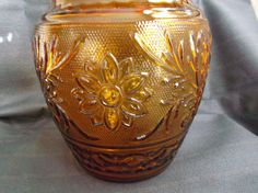Anchor Hocking Sandwich Glass Cookie Jar Desert Gold 1961-1964  offered by #rubylane shop Saltymaggie's Treasures