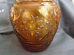 Anchor Hocking Sandwich Glass Cookie Jar Desert Gold 1961-1964  offered by #rubylane shop Saltymaggie's Treasures