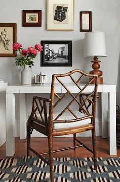 Small Home Office Interior Parsons desk, Chippendale chair Home Interior, Interior Decorating, Interior Design, Design Interiors, Decorating Ideas, Decor Ideas, Parsons Desk, Chippendale Chairs, Farmhouse Side Table