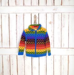 On Sale 15% off  - Vintage children/kids rainbow colored wool/cotton hoodie knit sweater/chunky wool cardigan/striped colorful woven sweater by GreenCanyonTradingCo on Etsy