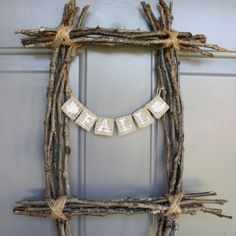 Wreath frames are expensive! I like this portrait frame twig wreath that could be very plain, or heavily embellished with nuts, berries, etc.