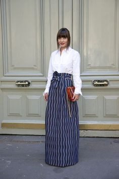 Maxi skirt rule #8 Pair a dramatic silhouette with shirting.
