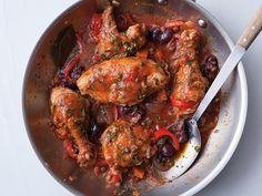 The Italian classic of CHICKEN CACCIATORE - chicken braised with tomatoes and wine, with capers and olives for kick.