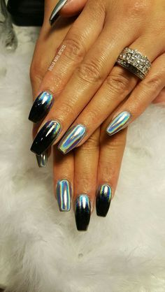50 wunderschöne holographische Nägel, die einfach atemberaubend sind - Neue Damen Frisuren 50 beaux ongles holographiques à couper le souffle Holographic Nails Acrylic, Fall Acrylic Nails, Metallic Nails, Fancy Nails, Trendy Nails, My Nails, Chrome Nails Designs, Acrylic Nail Designs, Nail Effects
