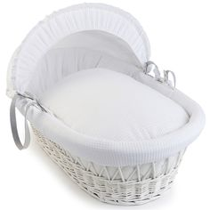 Clair de Lune White Waffle Wicker Moses Basket