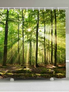 OFF] Sunlight Forest Tree Waterproof Fabric Shower Curtain Green Shower Curtains, Christmas Shower Curtains, Cheap Shower Curtains, Bathroom Shower Curtains, Shower Bathroom, Shower Window, Bath Tub, Master Bathroom, Porches