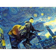 Harry Potter Art Harry Potter Broomstick Flying print van Gogh Never... ($15) ❤ liked on Polyvore featuring home, home decor, wall art, water painting, personalized wall stickers, yellow wall art, personalized posters and literary posters