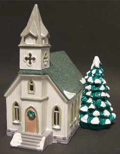Department 56 Snow Village at Replacements, Ltd Piece Code: Piece Name: All Saints Church - Boxed Size: 10 in Style: 50709 Department 56 Christmas Village, Dept 56 Snow Village, Christmas Village Houses, Christmas Villages, Villas, Christmas In The City, Glitter Houses, Ceramic Houses, Home Candles