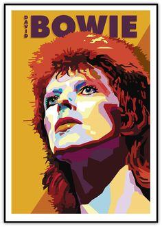 Original art print of David Bowie titled, David Bowie Art, David Bowie Ziggy, David Bowie Poster, Tour Posters, Band Posters, Music Posters, Pop Art Portraits, Portrait Art, Pop Art Dibujos