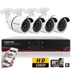 4CH DVR 1080P AHD Outdoor IR Camera Night Home Surveillance Security CCTV System #SUNCHAN