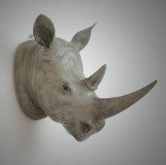 Brown Rhino head faux Rhino head wall hanging by FauxTaxidermyArt