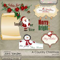 Country Christmas Word Art