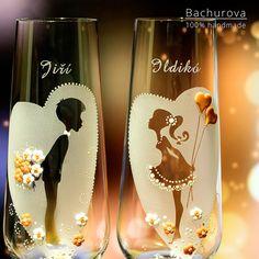 Svatební skleničky / Zboží prodejce ArtBach   Fler.cz Wood Carving Patterns, Flute, Champagne, Tableware, Glass, Handmade, Crafts, Ideas, Breakfast Nook