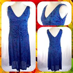 """NWT Electric Blue Ruched Sleeveless Dress Size M Brand New with Tags. Lightweight jersey dress from Dunia in electric blue with violet """"tiger"""" stripes throughout. Sleeveless, plunging v-neck. Ruched along the bodice. Size M or 6/8. Dunia Dresses Midi"""