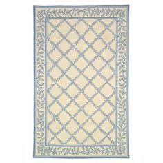 Hand-hooked wool rug with a botanical trellis motif.  Product: RugConstruction Material: WoolColor: Ivory and light blueFeatures: Hand-hookedNote: Please be aware that actual colors may vary from those shown on your screen. Accent rugs may also not show the entire pattern that the corresponding area rugs have.Cleaning and Care: Professional cleaning recommended