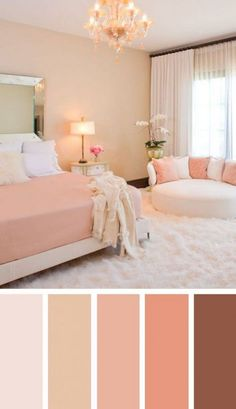 Creative Ways To Living Room Color Design Ideas You will observe the way the room will get bigger. Painting the living room is a substantial investment. Your living room takes up quite a f Best Bedroom Colors, Bedroom Color Schemes, Bedroom Paint Colors, Wall Colors, Coral Bedroom, Colors For Bedrooms, Home Color Schemes, Peach Bedroom, Pink Color Schemes