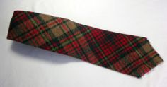 Necktie 1960's Made in the Amanas Plaid Design Wool with fringed edge