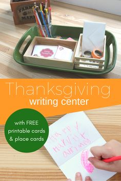 Thanksgiving is an educational day with this Thanksgiving writing center for your kids! Practice writing with our free printable cards or place cards. Thanksgiving Writing, Fall Preschool, Thanksgiving Crafts For Kids, Thanksgiving Activities, Preschool Kindergarten, Kids Crafts, Rhyming Activities, Educational Activities For Kids, Writing Activities