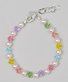 Crystal Dream Stylish Pink Swarovski Simulated Pearls and Multicolor Crystals Sterling Silver Baby Girl Bracelet Gift BMCB_L * Learn more by visiting the image link. Baby Bracelet, Pearl Bracelet, Beaded Jewelry Patterns, Bracelet Patterns, Bead Jewellery, Pearl Jewelry, Jewlery, Bridal Jewelry, Crystal Bracelets