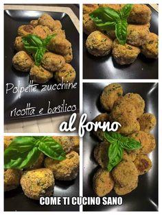 Polpette+di++zucchine,+ricotta+e+basilico,+al+forno.+Per+un+secondo+leggero+e+gustoso. Ricotta, Baked Potato, Picnic, Potatoes, Baking, Ethnic Recipes, Food, Potato, Bakken