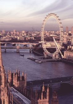 The London Eye, river Thames and parliament.