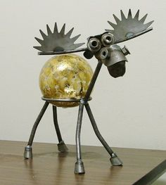 Moose Recycled Scrap Metal Gazing Globe Stand with Silver Leaf Glass Gazing…