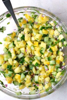 The perfect summer salsa with a sweet and juicy kick from the fresh pineapple and a refreshing crunch from the cucumber (Paleo Mexican Recipes) Cucumber Salsa, Cucumber Recipes, Fruit Salsa, Tomatillo Recipes, Cucumber Appetizers, Watermelon Salsa, Strawberry Salsa, Mexican Food Recipes, Side Dishes