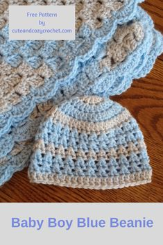 Baby Boy Blue Beaniet | Free Crochet Pattern | Baby Beanie | Crochet Hat | I Love This Yarn | Hobby Lobby | Baby Boy Set | Baby Shower | Gift | Cute and Cozy Crochet | Crossed Double Crochet Stitch