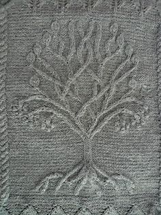Ravelry: Project Gallery for Tree pattern by Ariel Barton - free knitting pattern - I don't knit but I think I could do this in crochet Cable Knitting, Knitting Charts, Knitting Stitches, Knitting Patterns Free, Knit Patterns, Free Knitting, Stitch Patterns, Simple Knitting, Knitted Afghans