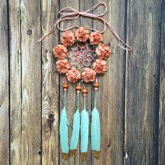 3 floral menthe et pêche Dream Catcher par DreamDen sur Etsy