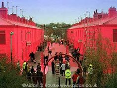 Ash Street in Salford, Manchester painted pink for Barbie PR stunt