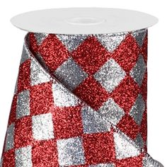 Diamond Check Ribbon DELUXE Wired Red and SIlver G