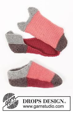 Felted slippers knitted in DROPS Alaska. Knitting Patterns Free, Free Knitting, Stitch Patterns, Free Pattern, Crochet Patterns, Drops Design, Labor, Knitted Slippers, Crochet Diagram