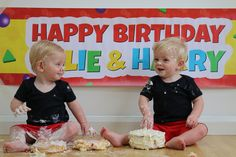 Cake smash on a budget! Mickey Mouse Clubhouse inspired cake smash for twins 1st birthday, all completed in the comfort of our own home.