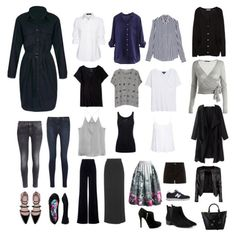 Capsule wardrobe with neutral navy