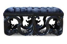 Simone Velvet Upholstered Bench - Black #gothic #decor