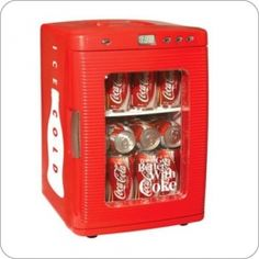 Koolaton Coca-Cola Fridge Red thermoelectric cooling system is quiet, lightweight, compact and portable. This Portable Fridge can holds up to twenty-eight cans. Coca-Cola Fridge Kwc 25 has a self-locking recessed door handles and removable shelves. Coca Cola Mini, Coca Cola Vintage, Pepsi Cola, Portable Fridge, Mini Fridge, Beer Fridge, Tempered Glass Door, Beverage Center, Compact Refrigerator