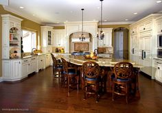 white and cherry kitchen | Kitchen with Antiqued White Cabinets, Cherry Wood Island, Granite ...
