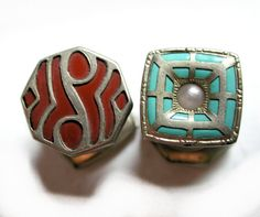 "Deco 1920's ""Kum A Part"" Snap Enamel Cufflinks, Mismatched Pair in Red and Blue, from MisterBibs, $65.00"