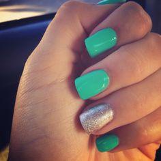 Turquoise blue acrylic nails!