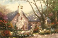 """Morning Glory Cottage"" was Thomas Kinkade's first painting featuring a real-life cottage from Carmel, California - one of the original towns where he showcased his early artwork. If you have the good fortune to travel to this beautiful destination, be sure to stop at Santa Lucia and Scenic to experience Thom's inspiration."