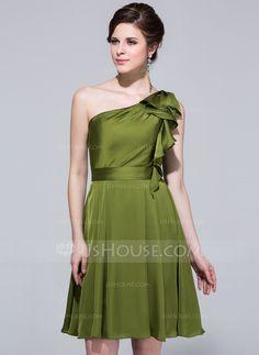 A-Line/Princess One-Shoulder Knee-Length Satin Chiffon Bridesmaid Dress With Cascading Ruffles (007037281) - JJsHouse